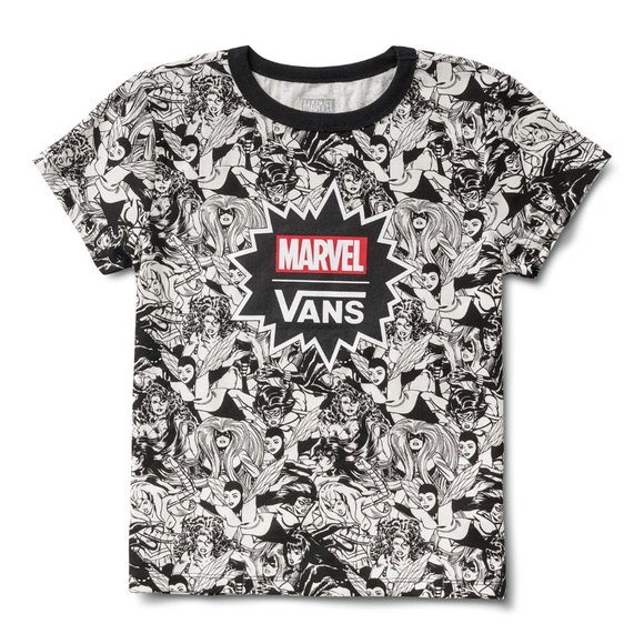 6643bd396c1f VANS x Marvel Women Black and White Baby Tee